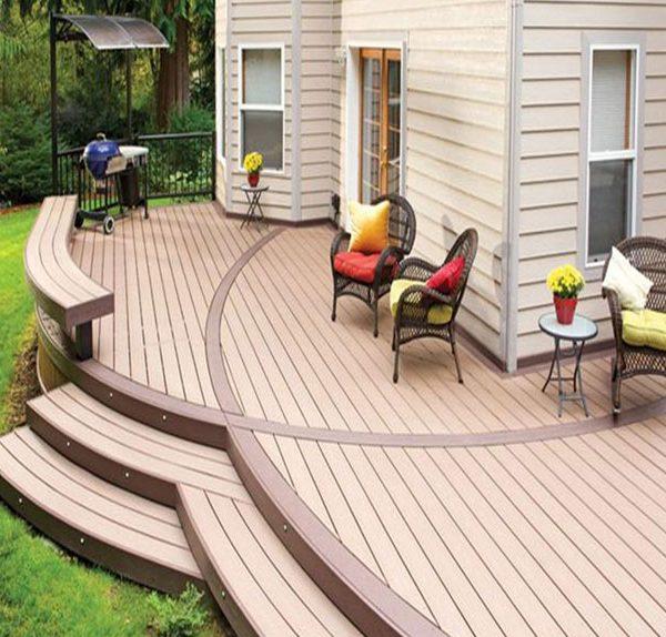 terraço Tecnologia Flooring WPC, decking Revestimento Exterior frio resistente à umidade e sol, bem como batidas e arranhões de mesas, cadeiras, verificar os preços Piso 2017